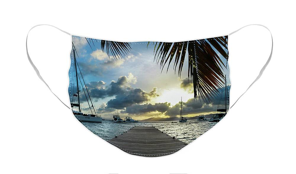 I Love The Vvi Face Mask featuring the photograph Sunset in the BVI by Jon Neidert