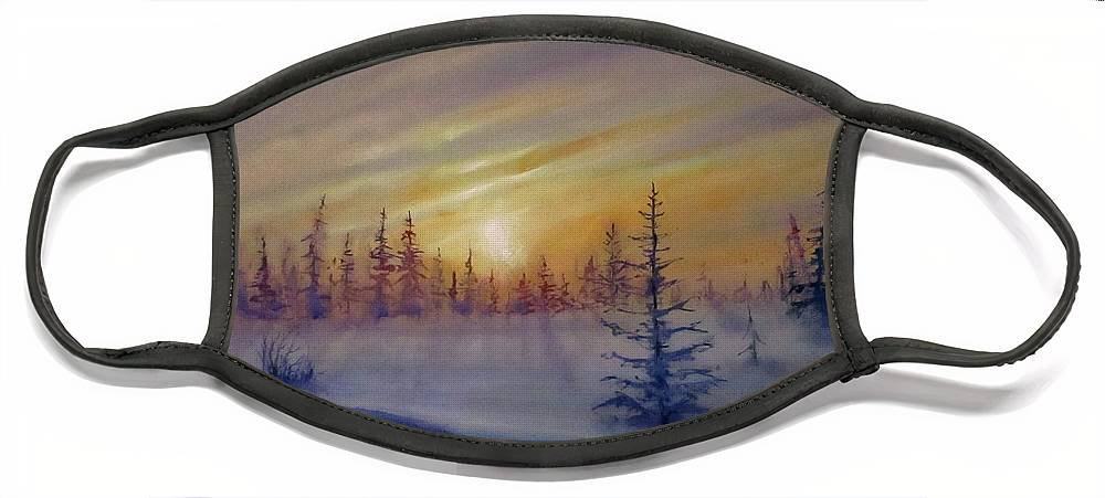 Winter Face Mask featuring the painting Sunset by Natalja Picugina
