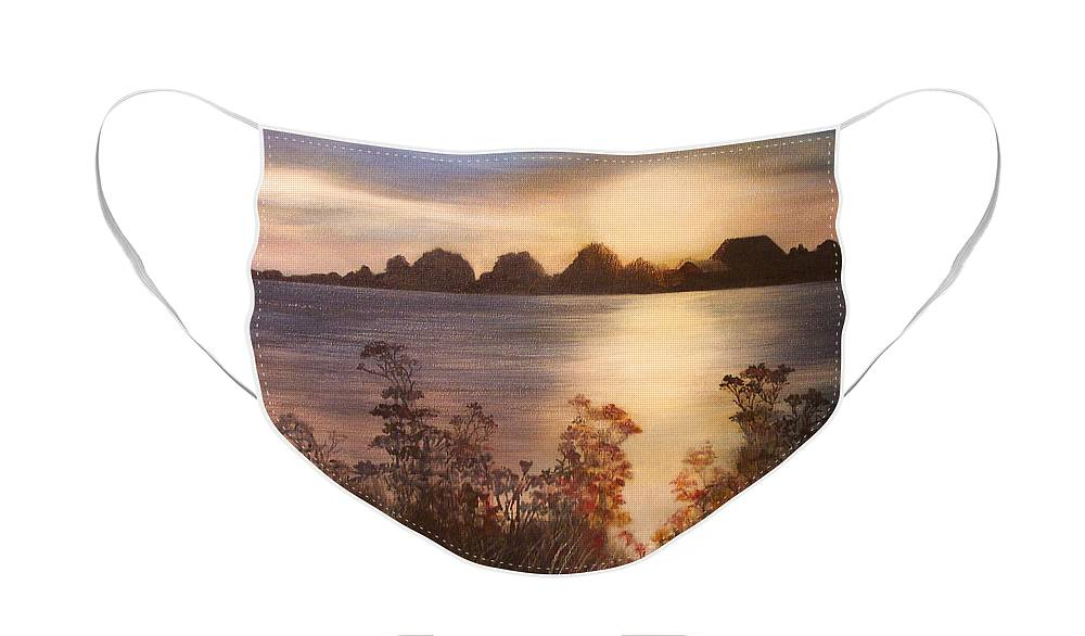 Sunset Face Mask featuring the painting Sunset over Westham Island by Victoria Heryet