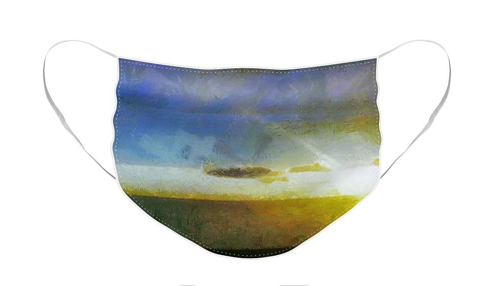 Canadian Face Mask featuring the painting Sunset Under the Clouds by Jeffrey Kolker