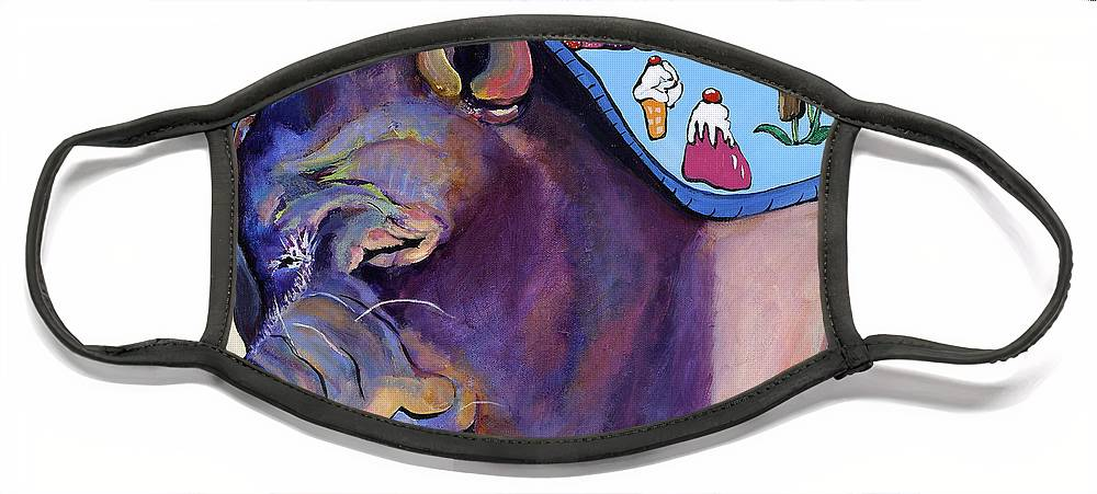 Farm Animal Face Mask featuring the painting Sweet Dreams by Pat Saunders-White