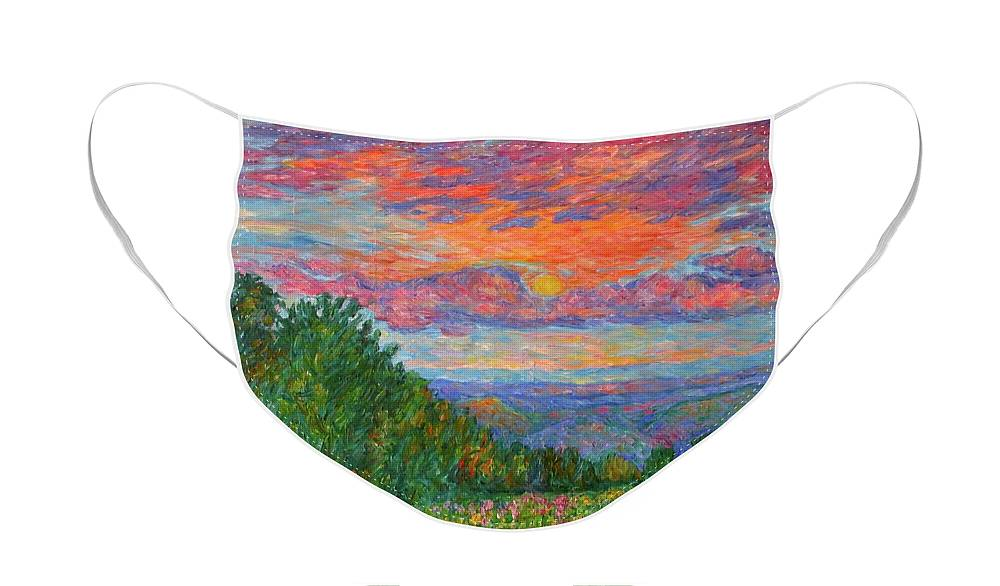 Landscapes For Sale Face Mask featuring the painting Sweet Pea Morning on the Blue Ridge by Kendall Kessler