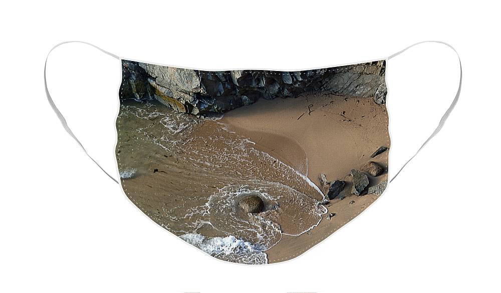 Big Sur Face Mask featuring the photograph Swirling Surf And Rocks by Charlene Mitchell