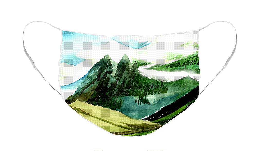 Landscape Face Mask featuring the painting Switzerland by Anil Nene