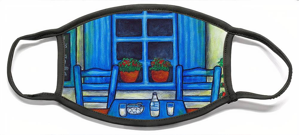 Blues Face Mask featuring the painting Table for Two in Greece by Lisa Lorenz