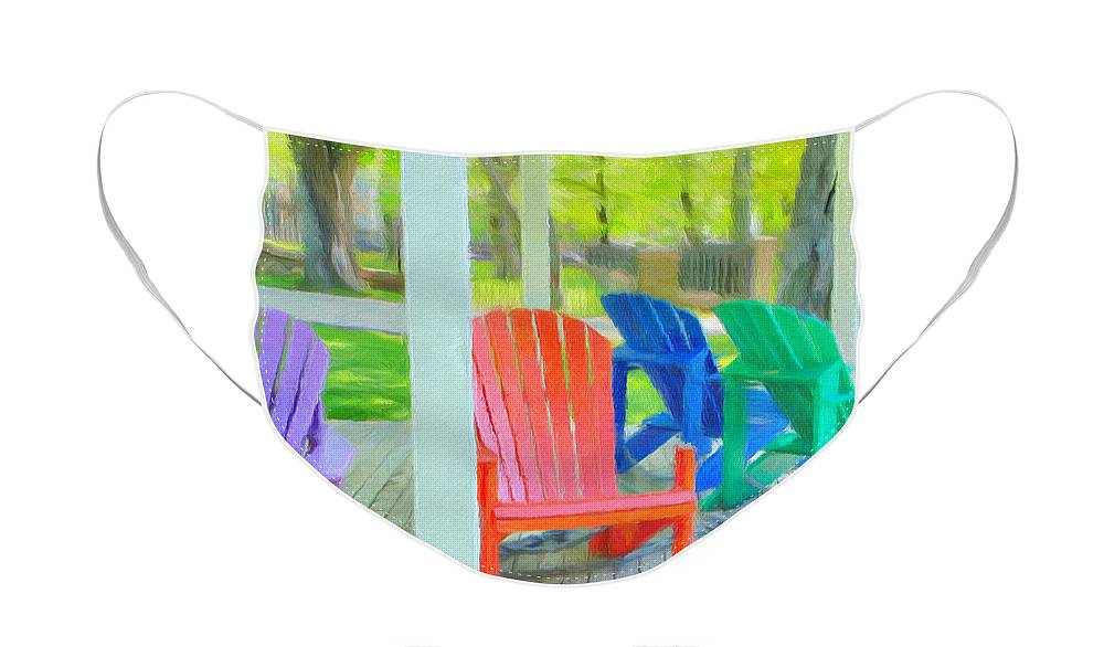 Halifax Face Mask featuring the painting Take a Seat but Don't Take a Chair by Jeffrey Kolker