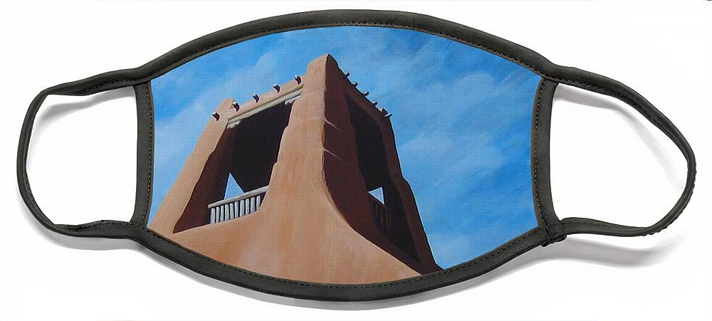 Taos Face Mask featuring the painting Taos Memory by Hunter Jay