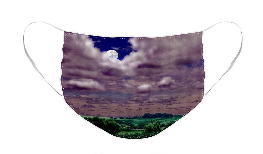Landscape Face Mask featuring the photograph Tarkio Moon by Steve Karol