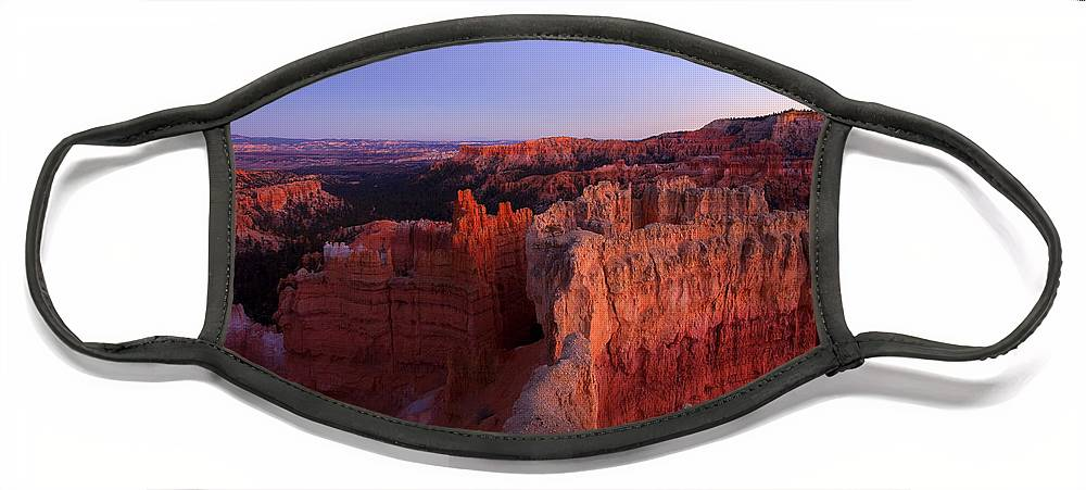 Hoodoo Face Mask featuring the photograph Temple of the setting sun by Mike Dawson