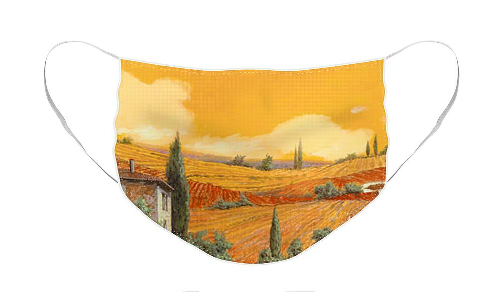 Tuscany Face Mask featuring the painting la terra di Siena by Guido Borelli