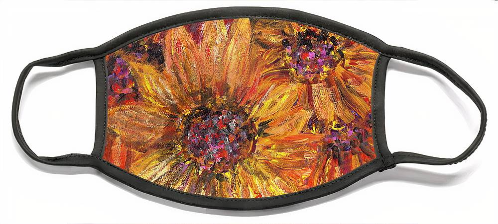 Yellow Face Mask featuring the painting Textured Gold and Red Sunflowers by Nadine Rippelmeyer