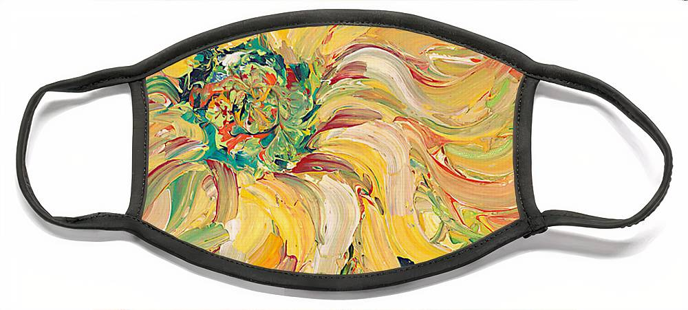 Texture Face Mask featuring the painting Textured Green Sunflower by Nadine Rippelmeyer