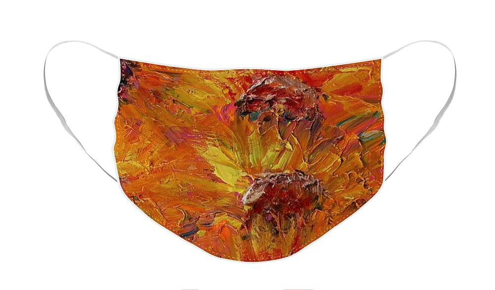 Sunflowers Face Mask featuring the painting Textured Sunflowers by Nadine Rippelmeyer