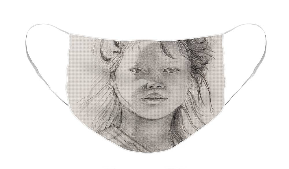Portrait Face Mask featuring the drawing Thai Beauty by Nadine Rippelmeyer