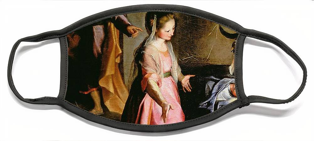 Nativity Face Mask featuring the painting The Adoration of the Child by Federico Fiori Barocci or Baroccio