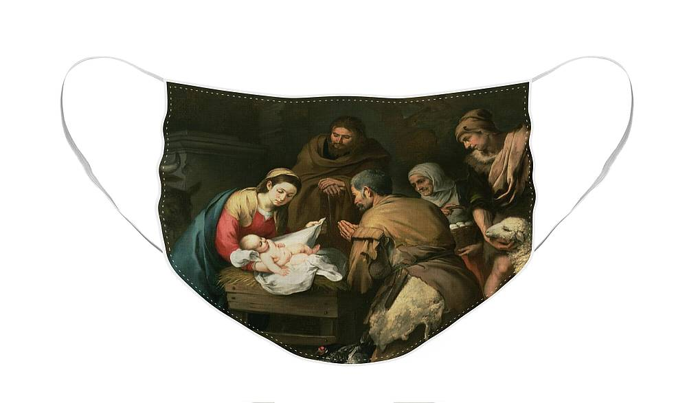 Adoration Face Mask featuring the painting The Adoration of the Shepherds by Bartolome Esteban Murillo