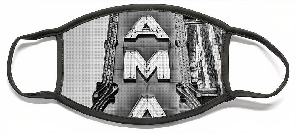 The Alabama Theater Face Mask featuring the photograph The Alabama Theater in Black and White by JC Findley