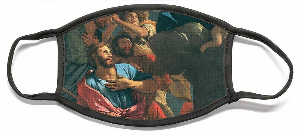 Poussin Face Mask featuring the painting The Apparition of the Virgin the St James the Great by Nicolas Poussin