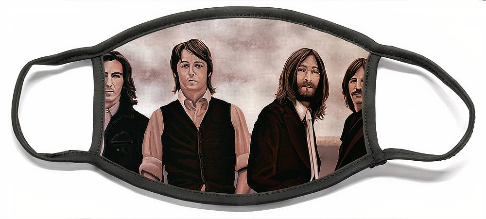 The Beatles Face Mask featuring the painting The Beatles 3 by Paul Meijering
