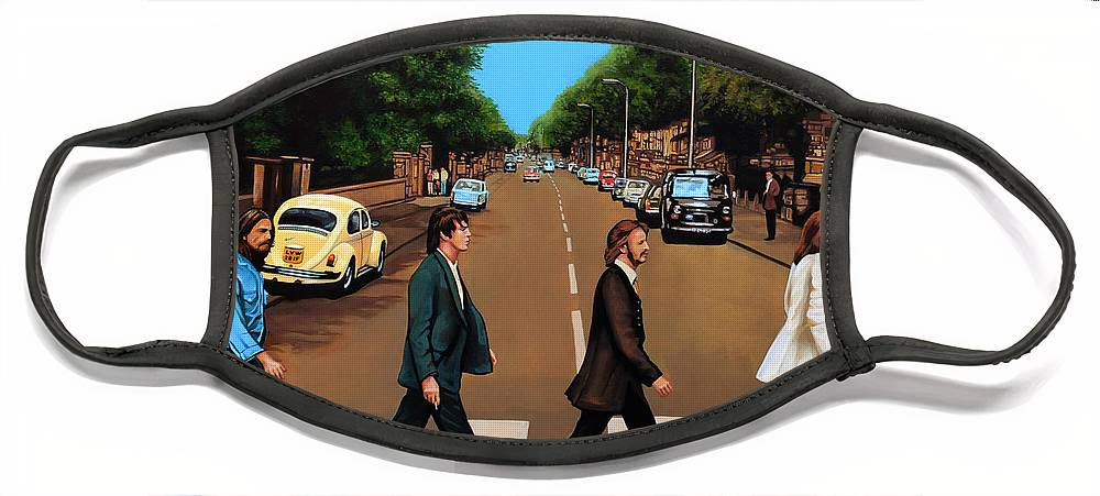 The Beatles Face Mask featuring the painting The Beatles Abbey Road by Paul Meijering