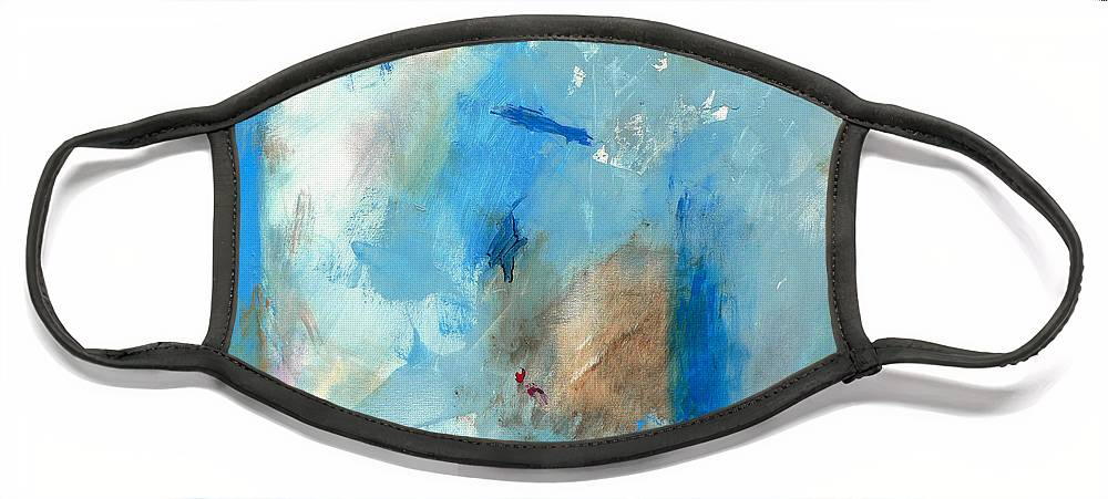 Abstract Face Mask featuring the painting The Blues by Jacquie Gouveia