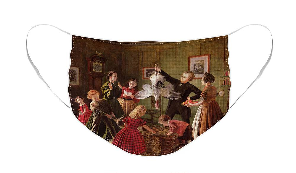 The Face Mask featuring the painting The Christmas Hamper by Robert Braithwaite Martineau