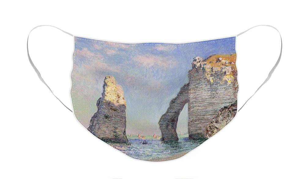 The Cliffs At Etretat Face Mask featuring the painting The Cliffs at Etretat by Claude Monet