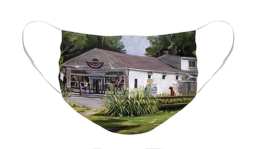 Buildings Face Mask featuring the painting The Country Store by Nancy Griswold