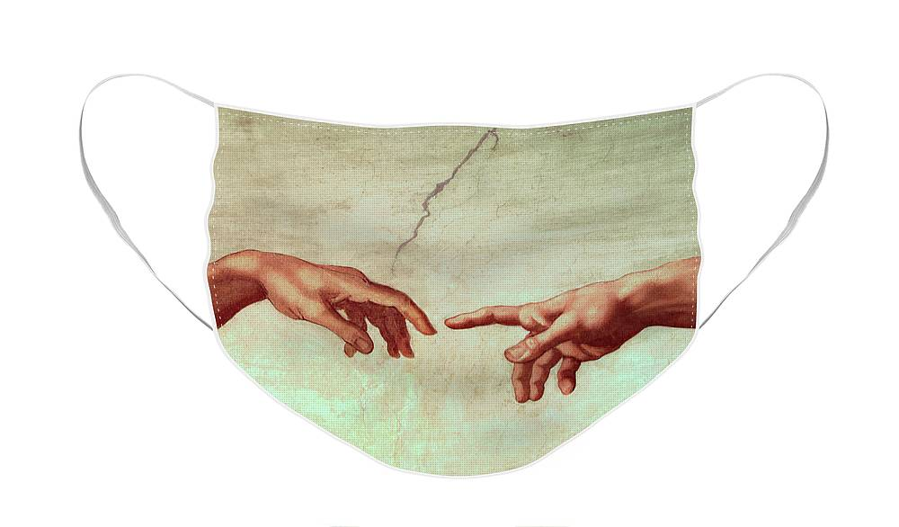 Hand Face Mask featuring the painting The Creation of Adam, detail by Michelangelo
