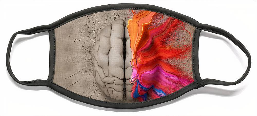 Brain Face Mask featuring the digital art The Creative Brain by Johan Swanepoel