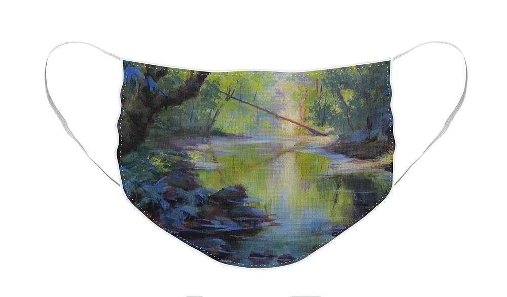 Creek Face Mask featuring the painting The Creek by Karen Ilari