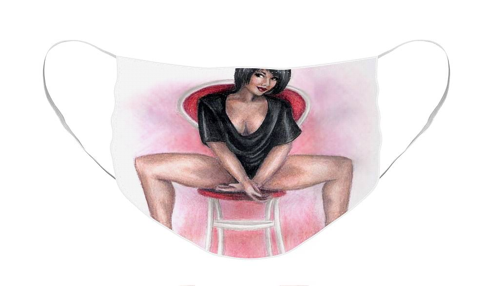 Figure Face Mask featuring the drawing The Dancer by Scarlett Royal