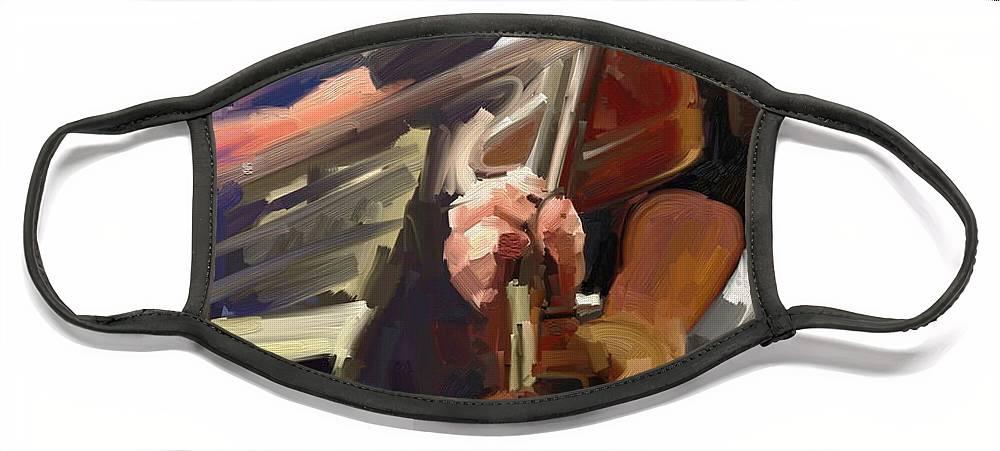 Art Face Mask featuring the digital art The Fiddler by Scott Waters