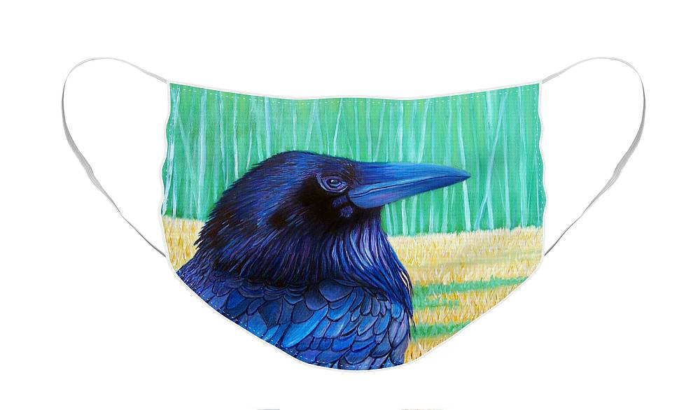 Raven Face Mask featuring the painting The Field of Dreams by Brian Commerford