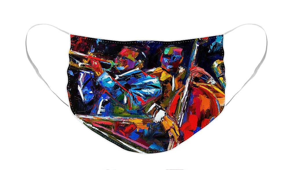 Jazz Face Mask featuring the painting The First Set by Debra Hurd