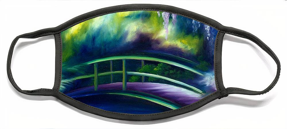 Sunrise Face Mask featuring the painting The Gardens of Givernia by James Christopher Hill