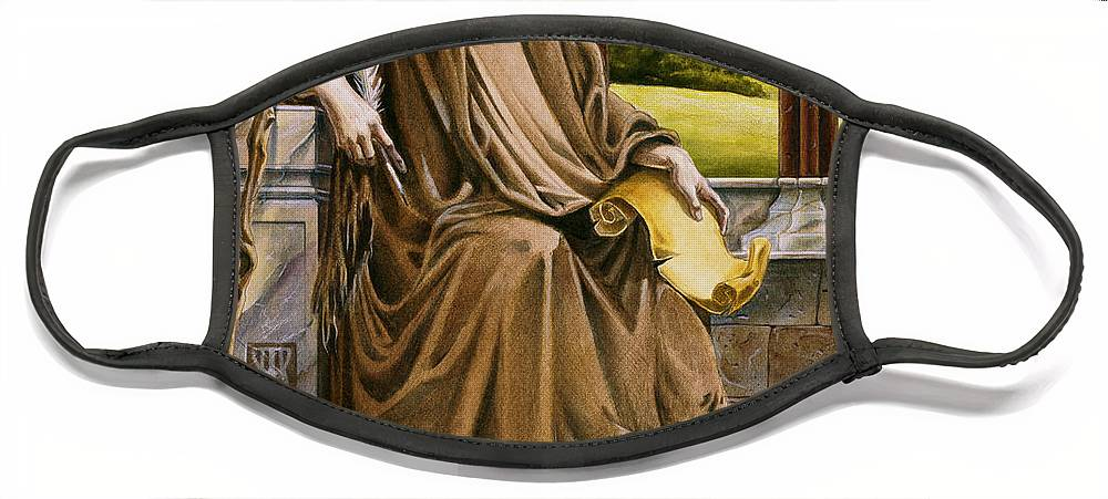 Wise Man Face Mask featuring the painting The Hermit Nascien by Melissa A Benson