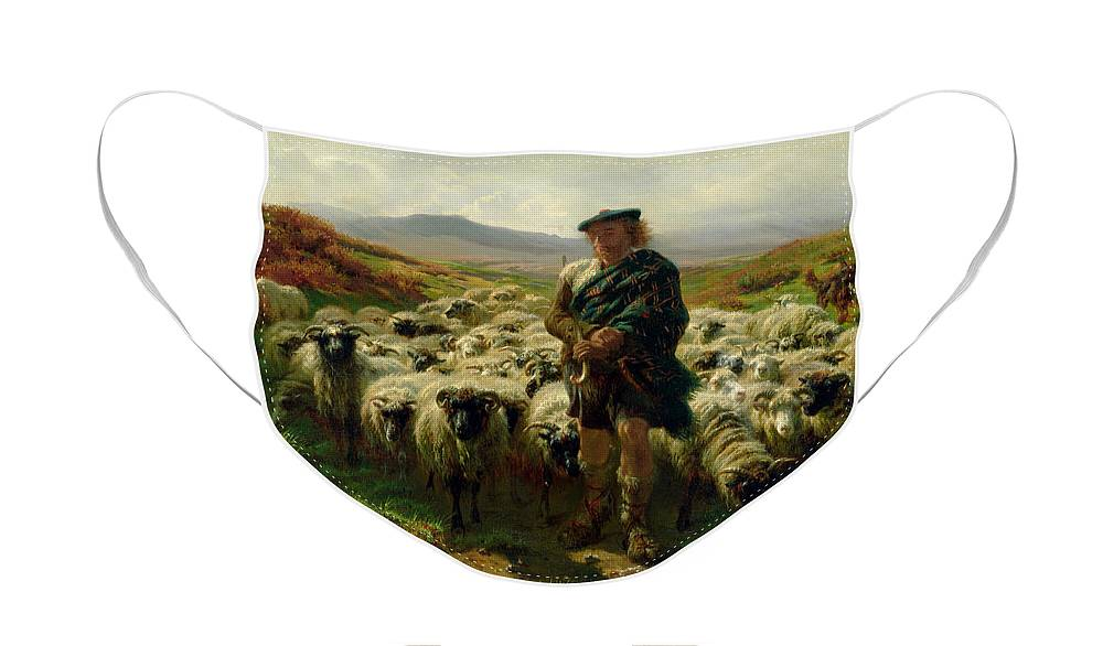 The Face Mask featuring the painting The Highland Shepherd by Rosa Bonheur