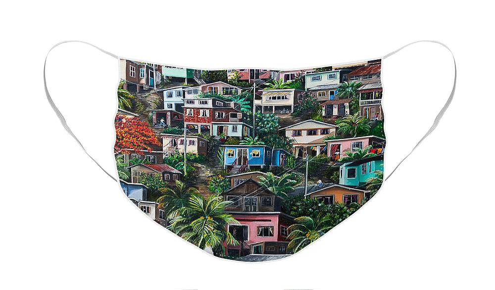 Landscape Painting Cityscape Painting Houses Painting Hill Painting Lavantille Port Of Spain Painting Trinidad And Tobago Painting Caribbean Painting Tropical Painting Caribbean Painting Original Painting Greeting Card Painting Face Mask featuring the painting THE HILL   Trinidad by Karin Dawn Kelshall- Best