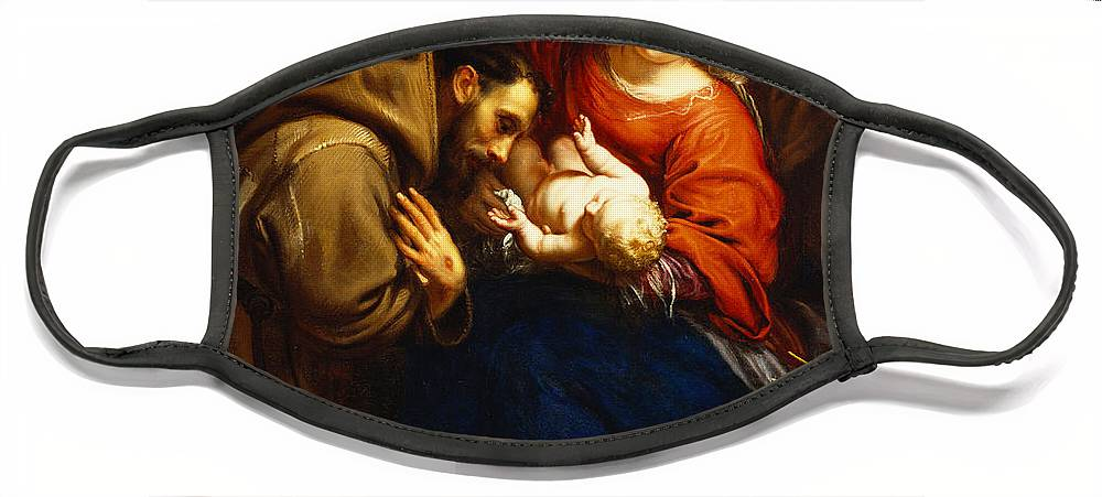 Holy Face Mask featuring the painting The Holy Family with Saint Francis by Jacob van Oost