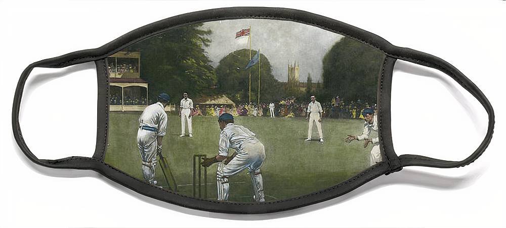 Cricket Face Mask featuring the painting The Kent Eleven Champions, 1906 by Albert Chevallier Tayler