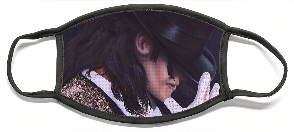The King Of Pop Face Mask featuring the painting The King of Pop by Darren Robinson