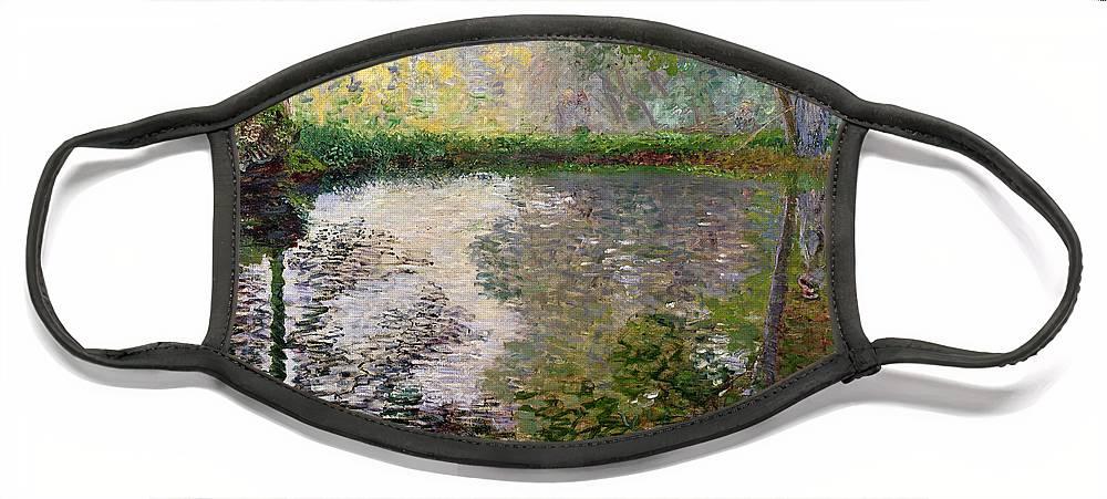 The Lake At Montgeron By Claude Monet (1840-1926) Face Mask featuring the painting The Lake at Montgeron by Claude Monet