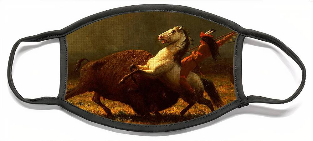 Albert Bierstadt Face Mask featuring the painting The Last of the Buffalo by Albert Bierstadt