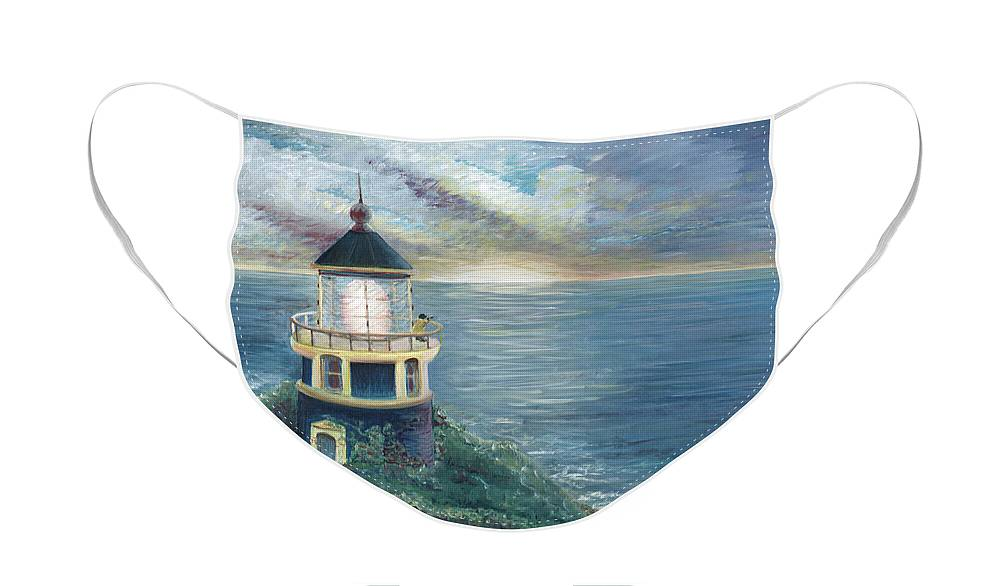 Lighthouse Face Mask featuring the painting The Lighthouse by Nadine Rippelmeyer