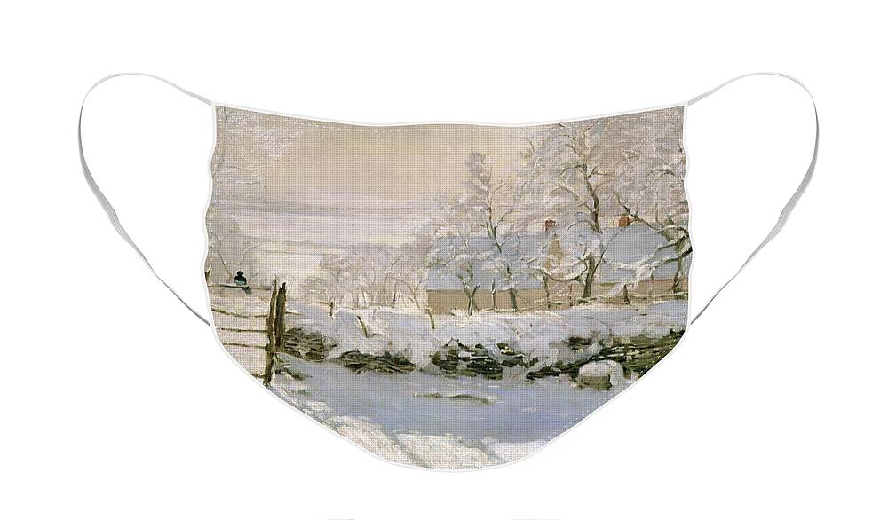 The Face Mask featuring the painting The Magpie by Claude Monet