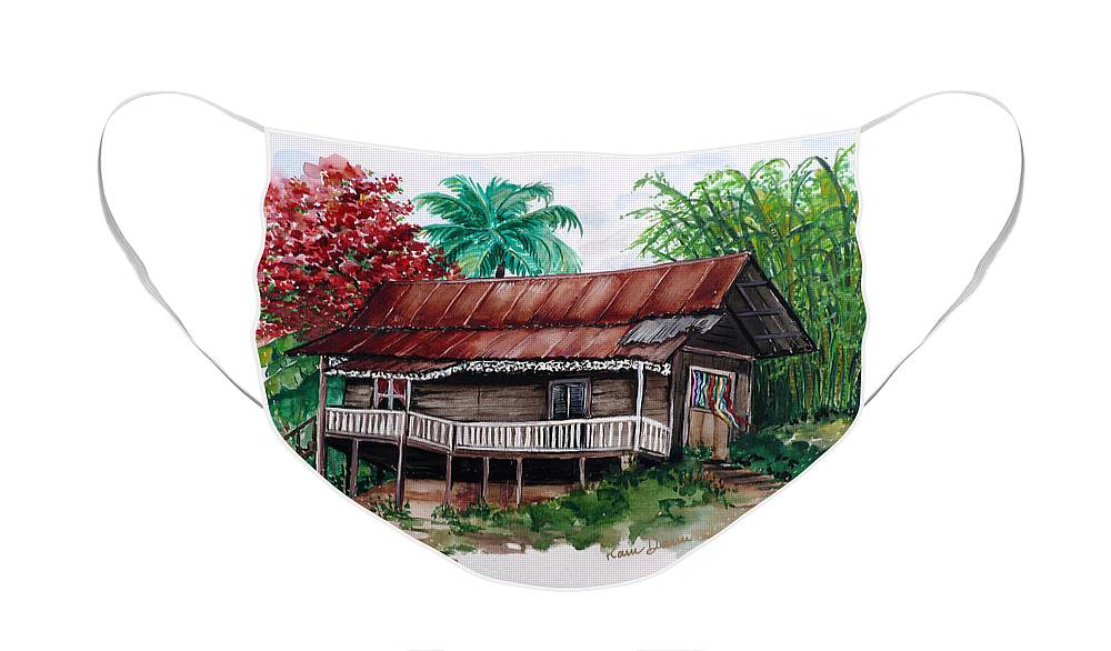 Tropical Painting Poincianna Painting Caribbean Painting Old House Painting Cocoa House Painting Trinidad And Tobago Painting  Tropical Painting Flamboyant Painting Poinciana Red Greeting Card Painting Face Mask featuring the painting The Old Cocoa House by Karin Dawn Kelshall- Best