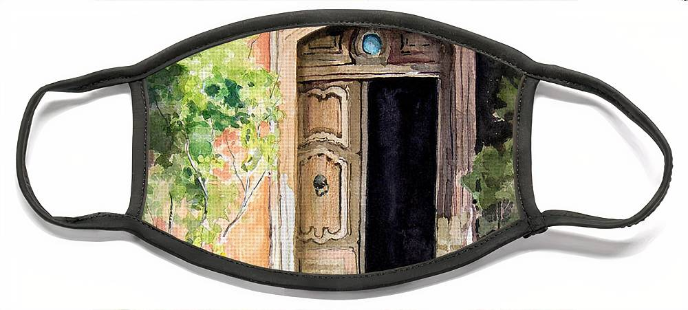 Door Face Mask featuring the painting The Open Door by Sam Sidders