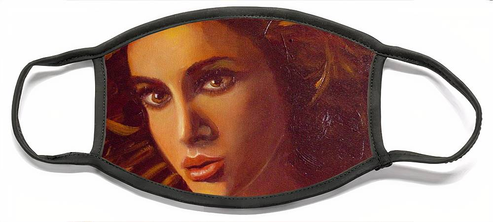 Portrait Face Mask featuring the painting The Oracle by Laurie Morgan