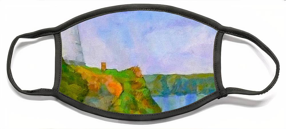 Pepper Pot Portreath Cornwall Face Mask featuring the digital art The Pepper Pot by Scott Waters